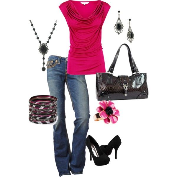 Raspberry: Fashion Style, Pink Outfit, Clothing, Clothes, Dream Closet, Date Nights, Fuschia Night, Shirt, Pink Top