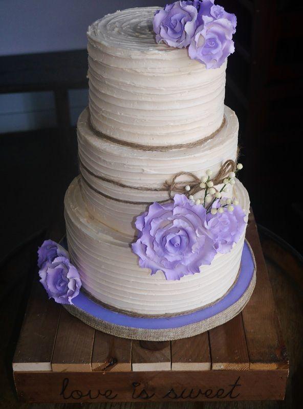 Rustic Chic Wedding Cake #rusticwedding #chic #cake #love #woodlandwedding #ivory #lavender #twine #vintage #romantic #sweetsisterchicsister
