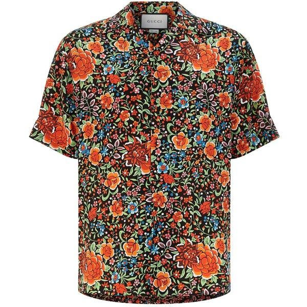 Gucci Floral Print Silk Bowling Shirt (11.501.290 IDR) ❤ liked on Polyvore featuring men's fashion, men's clothing, men's shirts, men's casual shirts, dad, gucci mens shirts, mens summer shirts, mens tiger print shirt, mens silk shirts and men's flower print shirt