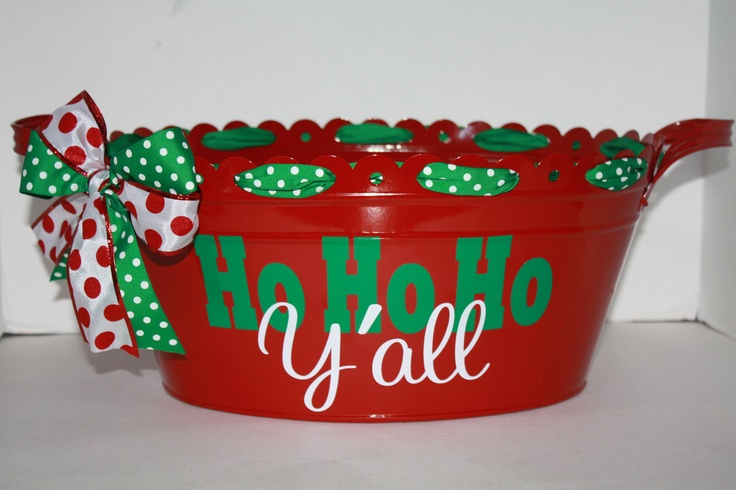 Personalized scalloped metal oval tub/bucket -red- Ho Ho Ho, Christmas, basket