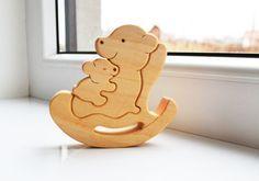Muttertag - Kinder Geschenk - Holz Bär - Wooden Puzzle Bär - Pädagogische Spielwaren - Spielzeug Montessori - Kinder Geschenke - Tier Puzzle - trägt Familie