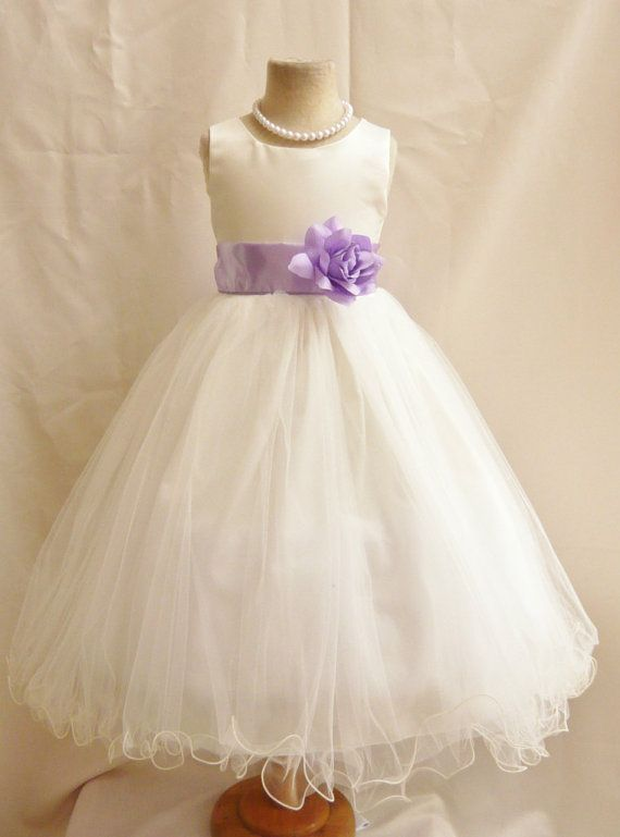 I THINK THIS MIGHT BE THE ONE...Flower Girl Dress IVORY/Lilac FL Wedding by NollaCollection, $34.99 @Layla Stewart @Jessica Wagner @Beth Hearn  MAYBE ONE COULD BE WITH IVORY SASH, ONE WITH LILAC AND ONE WITH PURPLE, OR IF THEY HAVE CHAMPAGNE SASH INSTEAD OF IVORY? WHAT'YA THINK?