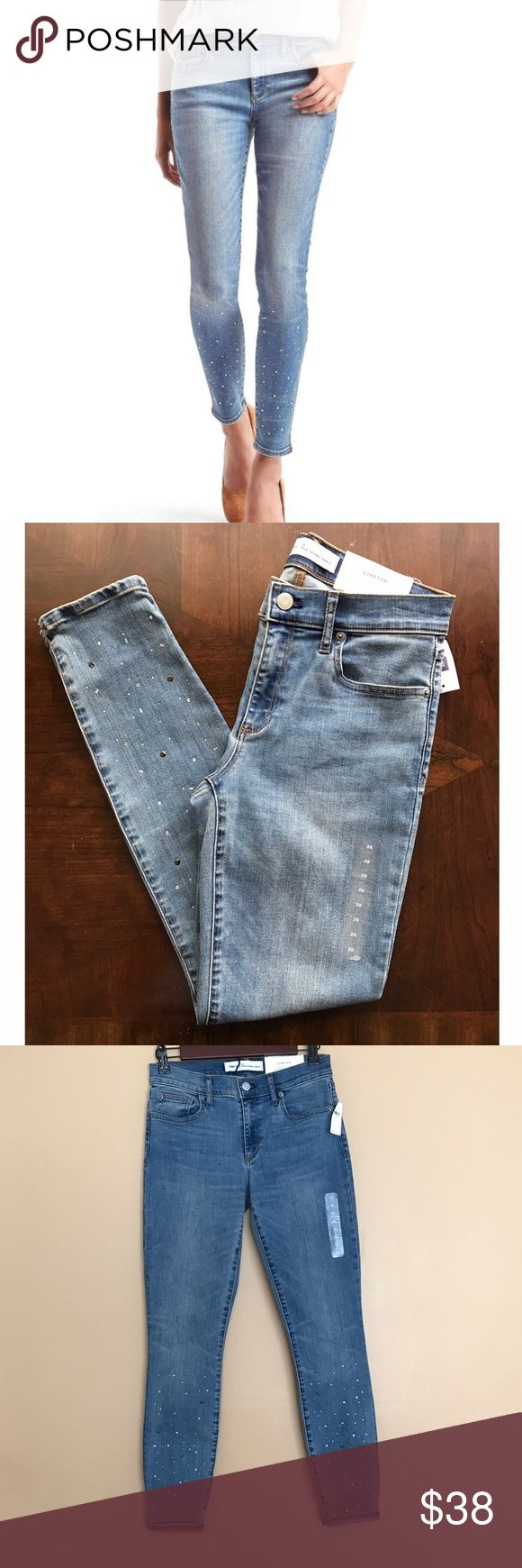 "Gem Studded True Skinny Ankle Stretch Jeans Wash is light/medium. 37"" Long. 28.5"" Inseam. 10.5"" Foot Hole opening (bottom). 29"" Waist.  Embellishment; front only. Brand new with tags. Retail $89.95 -Medium Stretch Fabric designed to define your shape. Mid Rise.  -Slim through hip and thigh. -Skinny Leg, Skims the Ankle. GAP Jeans Skinny"