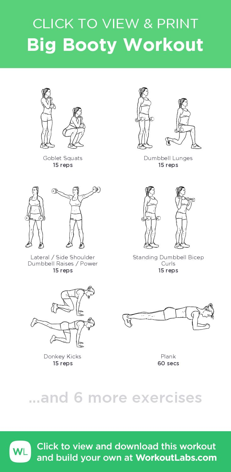 Big Booty Workout – click to view and print this illustrated exercise plan created with #WorkoutLabsFit