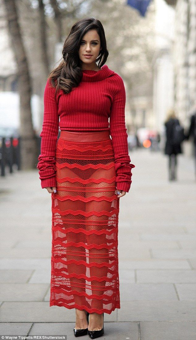 Red hot: Georgia May Foote, 26, wore a flamenco-inspired ensemble which flashed her underwear as she arrived to the Teatum Jones show during London Fashion Week on Friday
