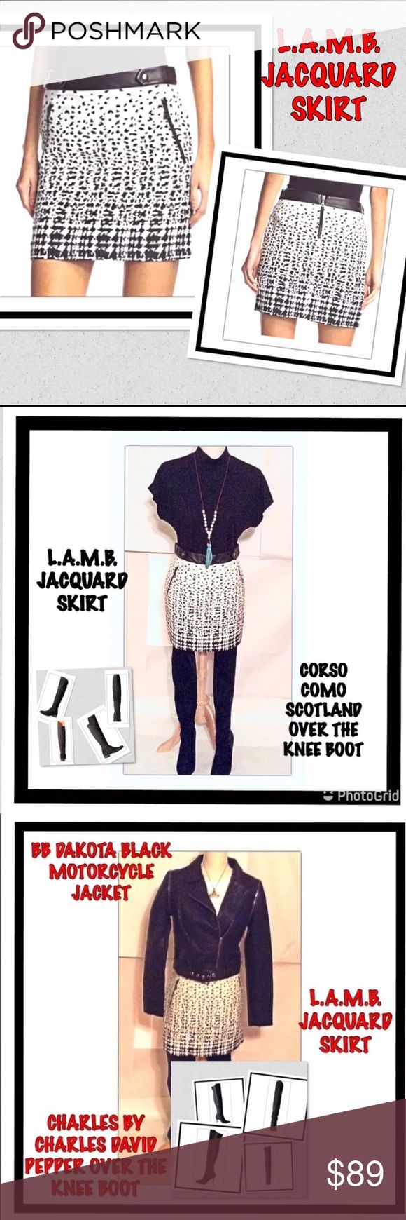 "L.A.M.B. Jacquard Black And White Mini Skirt L.A.M.B. black and white jacquard mini skirt. Size 8. New with tags. Edgy two-tone jacquard mini skirt with leather waistband and snap tabs. Asymmetrical zip pockets. Waist to hemline: 17"". 100% leather waistband.  Priced to sell. No trades. L.A.M.B. Skirts Mini"
