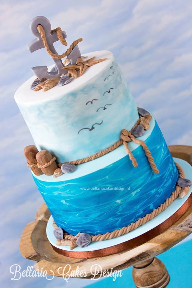 "Not every cake needs a cheerful event. This cake was created to honor a wonderful man who recently passed away. The sea along with the beach and the sea gulls was the requested theme. There was this sentence on the mourning card ""Flown away but still in our heart"". That made me think of a song of Josh Groban "" To Where You are"" ."