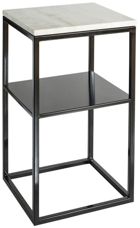 Sängbord ljus marmor, hyllplan svart