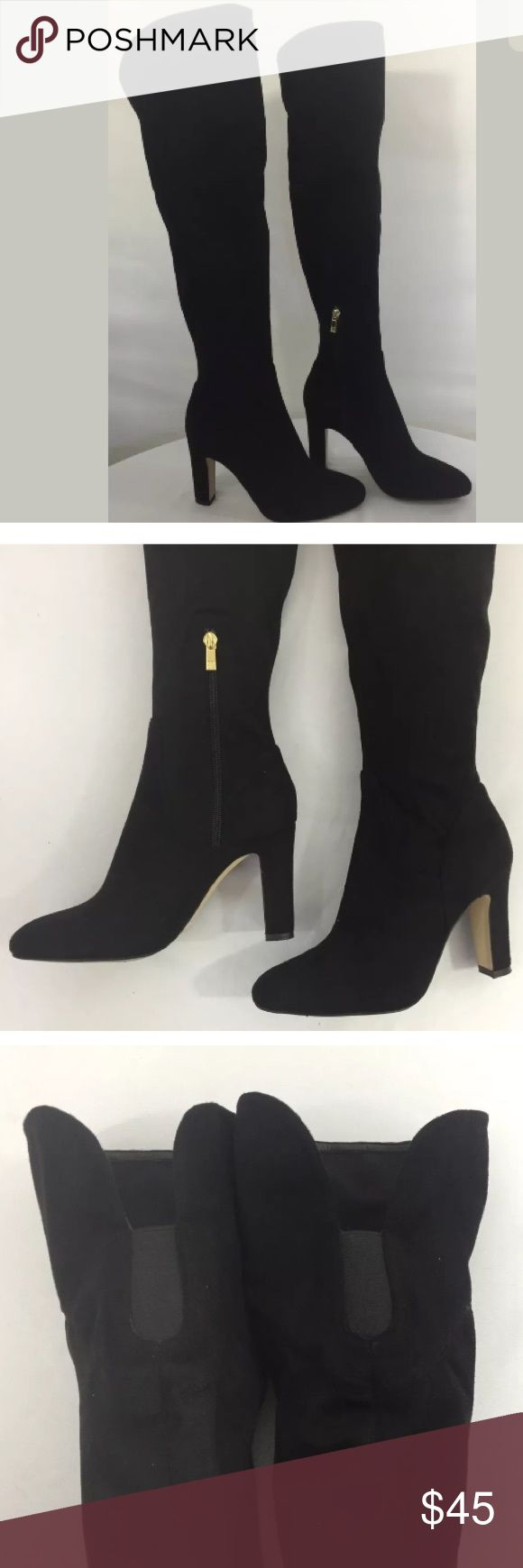 """Sale!🔥Ivanka Trump Over The Knee Thigh High Boots Sexy and chic Ivanka Trump black suede over the knee boots. Zipper with gold hardware at inner ankle. Beautiful boots, no signs of damage other than one very minor scuff on the back of the left boot. Overall these boots are in excellent pre-owned condition. SIZE 7 1/2 Height (including heel): approx. 23 1/2"""" Heel height: 3 3/4"""" Ivanka Trump Shoes Over the Knee Boots"""