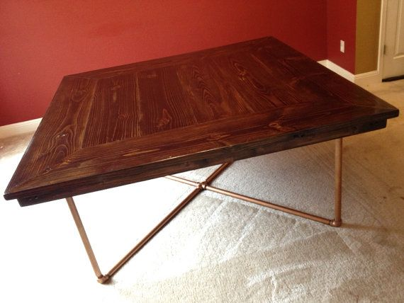 Rustic industrial pipe chic square dining table by IndustrialEnvy