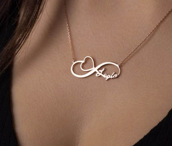 Infinity Love Double Chain Necklace 14k Solid Yellow Gold 17 INCHES