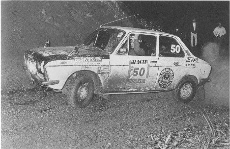 Subaru FF-1 tearing it up at the 1974 Alpine Rally