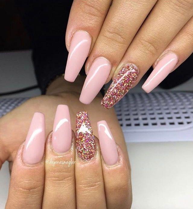 Nails long pink glitter acryl