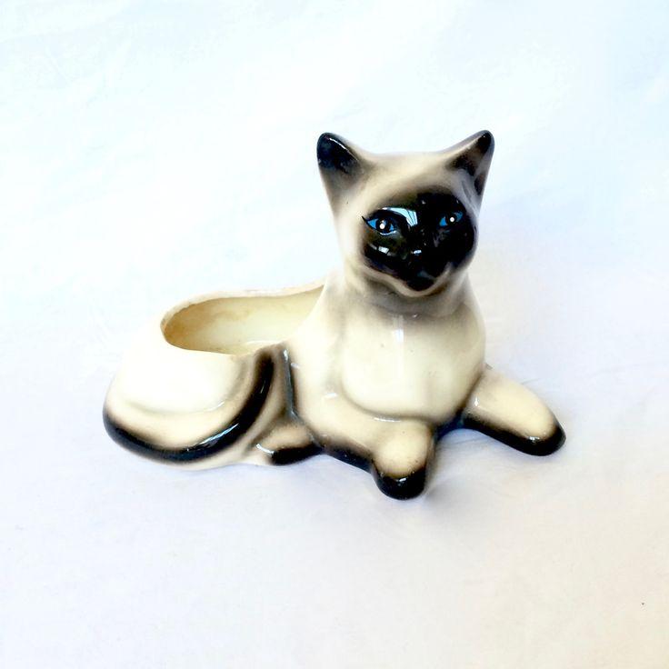 Ceramic Siamese Cat planter Cat figurine by EllasAtticVintage on Etsy
