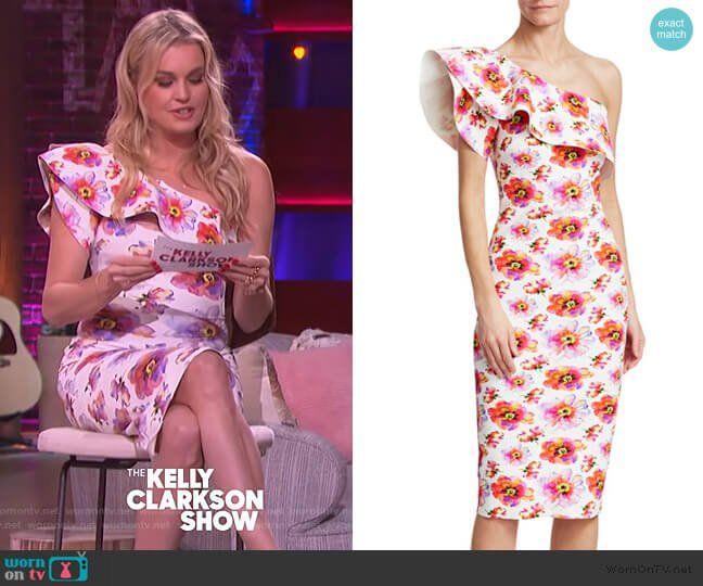 Rebecca Romijin S Floral Print Ruffle Dress On The Kelly Clarkson Show Dresses Ruffle Dress Fashion Outfits