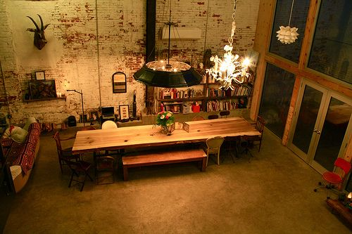 Doub and John's loft in a transformed garage near Philadelphia.Hanging Lights, Benches, Chairs, Dining Room Tables, Dinner Parties, Transformers Garages Loft, Apartments Complex, Loft Spaces, Ikea