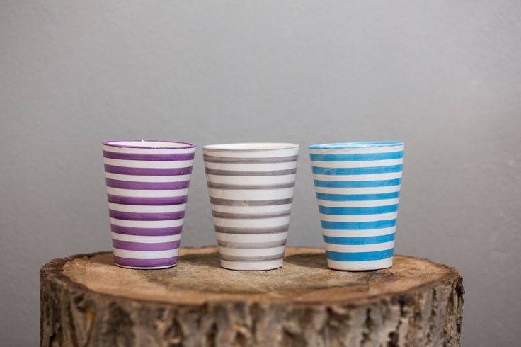 dishware with a simple design of wide horizontal stripes