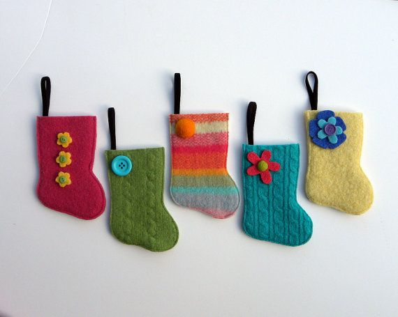 Rescued Wool Stocking Ornaments - Set of  Five - recycled wool by alicia todd