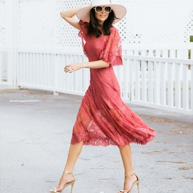 Talulah - Blind Love Midi Dress in Rosewood  Floral Lace | Pink Dresses