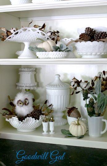 Fall Milk Glass Display #thrift #Goodwill #vintage