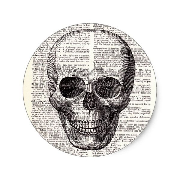Vintage Skull Print on Dictionary Page Classic Round Sticker #halloween #holiday #creepyhollow #stickers