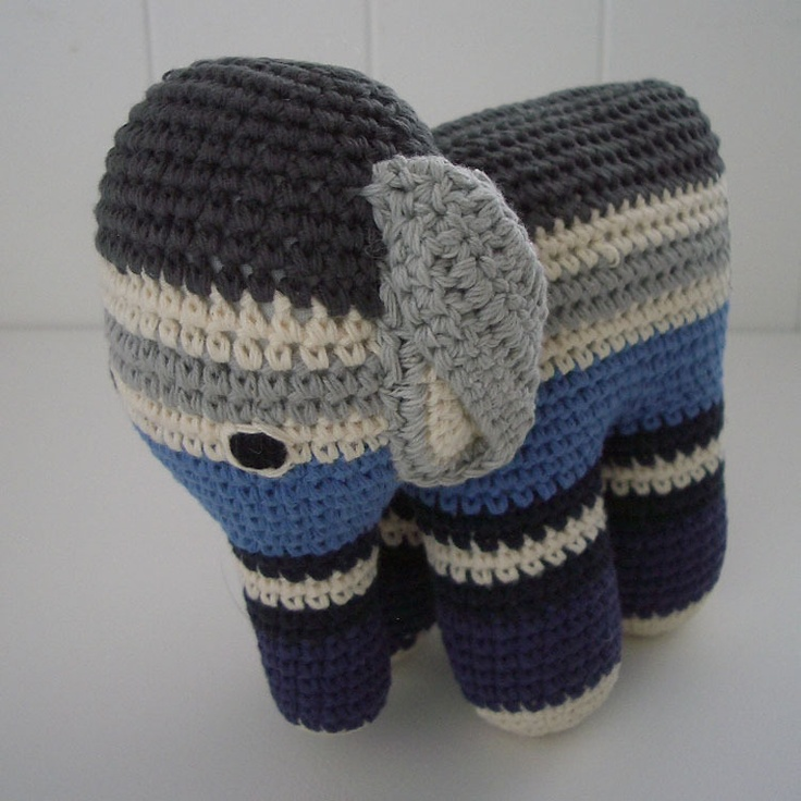 Elephant Blue by Anne Claire Petit: Love the expression of this adorable crocheted elephant. #Elephant #Toy #Anne_Claire_Petit