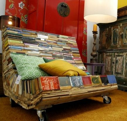 Books repurposed into chair