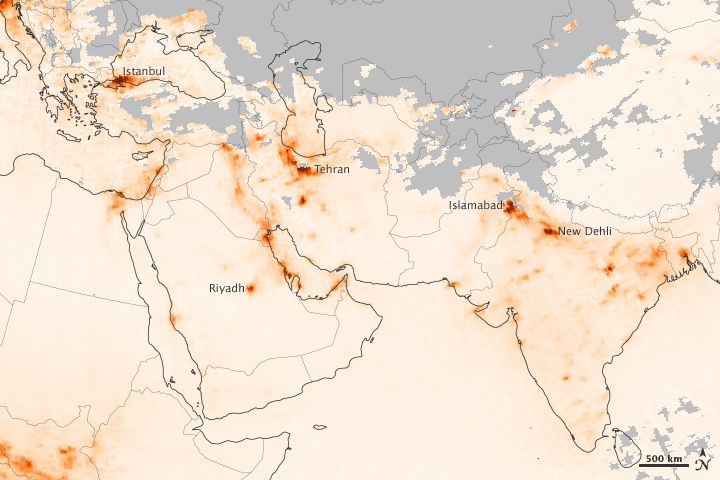 The map above shows the concentration of nitrogen dioxide (NO2) in the atmosphere above southwestern Asia from January 1–8, 2013. Shades of orange reflect the relative abundance of NO2, while grays show areas without usable data (cloud cover, for instance). The data were acquired by the Ozone Monitoring Instrument (OMI) on NASA's Aura satellite.