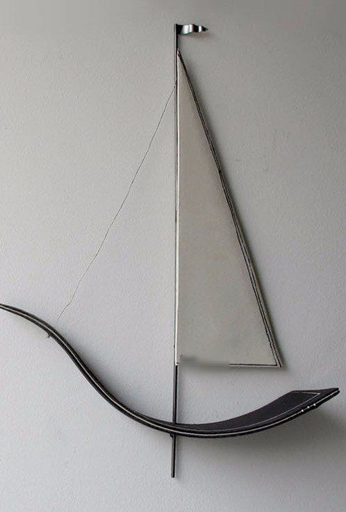 Sailboat 3d wall sculpture, minimal contemporary wall art