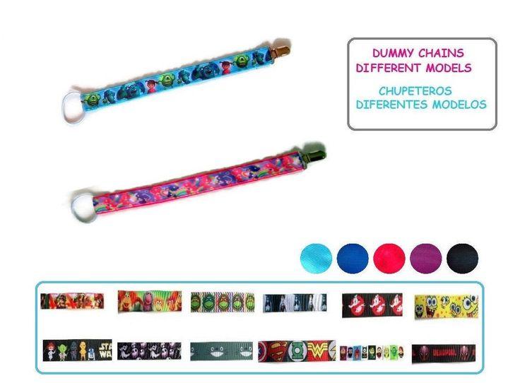 Chupetero clip complemento bebé Cadena de tela para chupete Regalo bebé Baby Shower Diferentes modelos color rosa o azul Monstruos SA Totoro de ElTallerdeRuna en Etsy