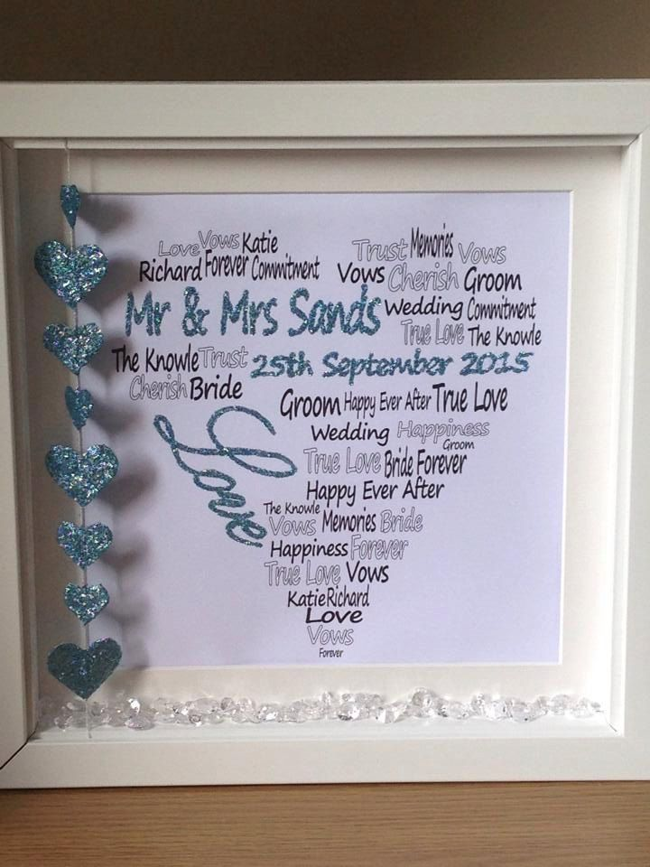 Wall art ~ Personalised wedding shadow box frame ~ word art love heart design ~ choose own words and colours ~ love hearts by FunkyDesignsbyDi on Etsy