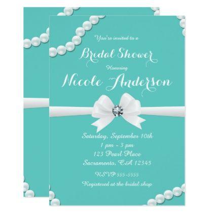 #Tiffany Glam Pearls & Bow Bling Bridal Shower Card - #bridalshower #invitations #weddinginvitations #wedding #invitations #party #card #cards #invitation #bridal