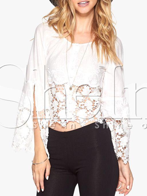 Negozio Crop top in pizzo bianco on-line. SheIn offre Crop top in pizzo bianco & di più per soddisfare le vostre esigenze di moda.