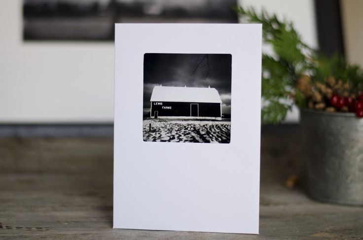 Holiday Greeting Card, 5x7, winter barn, christmas card, black and white landscape, cards, blank, winter card, winter, snow photo, farm by HolgaJen on Etsy
