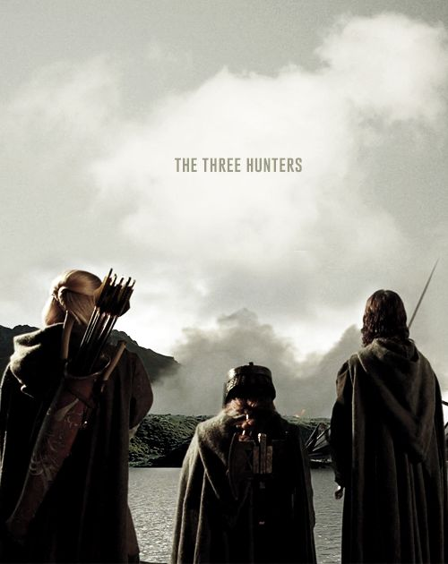 The Three Hunters was the name that Aragorn bestowed upon the remnant of the Fellowship of the Ring—including himself,Legolas, and Gimli—as they began tracking the Uruk-Hai thathad captured Meriadoc Brandybuck and Peregrin Took.