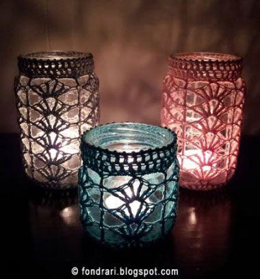 DIY Gorgeous and easy crochet mason jar cover - free pattern // Horgolt befőttes üveg lámpás - üveg ruha horgolásminta // Mindy - craft tutorial collection // #crafts #DIY #craftTutorial #tutorial #Upcycling #RecyclingCraft #UpcyclingCraft #MasonJarCraft #Glass