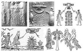 七賢人 エジプトインドでもみられる   アプカルル(Apkall)  アプカルルは、歴史的にはシュメール王名表で言われるところの大洪水が起こる前の時代、王に仕える非常に優秀で賢い宰相と、同じく王に仕える熟達した職人のことを指していたらしい。そして彼らアプカルルは、自分たちの高度な文化や伝統的な技術を、いまだ文明化していなかった人々に教えたという   アッカド語でApkallu、シュメール語ではAbgalは、シュメール神話に登場する7人の半神半人(精霊?『七賢聖』とも書かれてある)のことであり、エンキもしくはエア(アッカド版)が人間に文明をあたえるために創造したと伝えられる。大洪水以前のシュメール文明において最初の王の助言者であったと言われている。  大洪水後も七賢人 人々に文明を