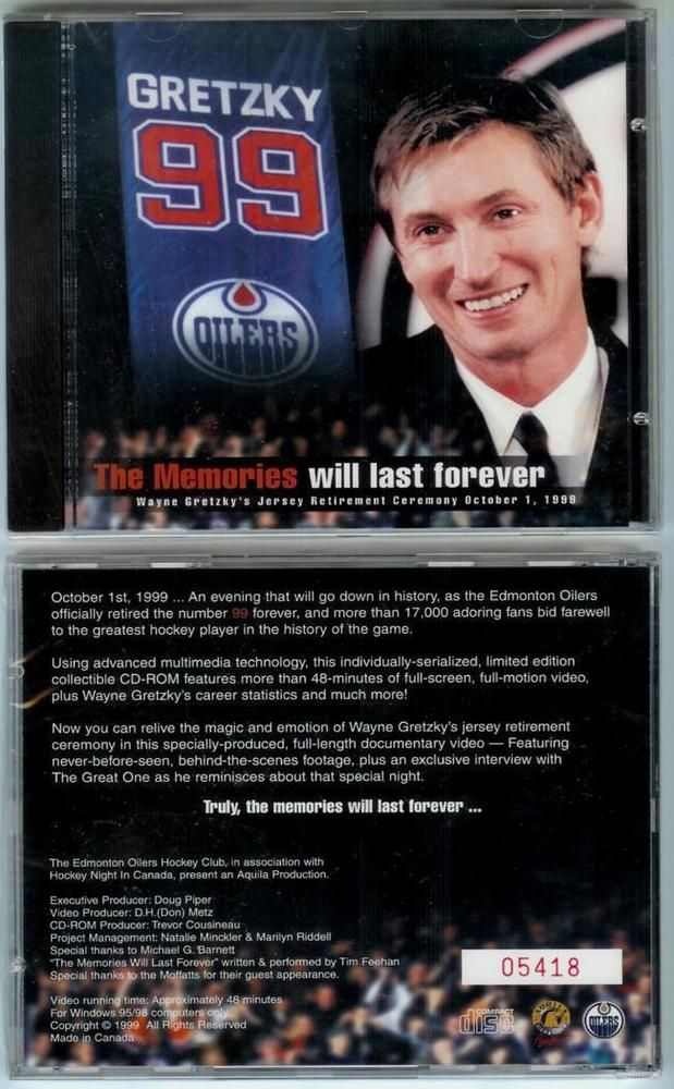 Wayne Gretzky Jersey Retirement Night In Edmonton OILERS 10/1/1999 CD Highlights