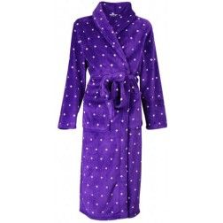 Paarse koudebestendige badjas met witte puntjes