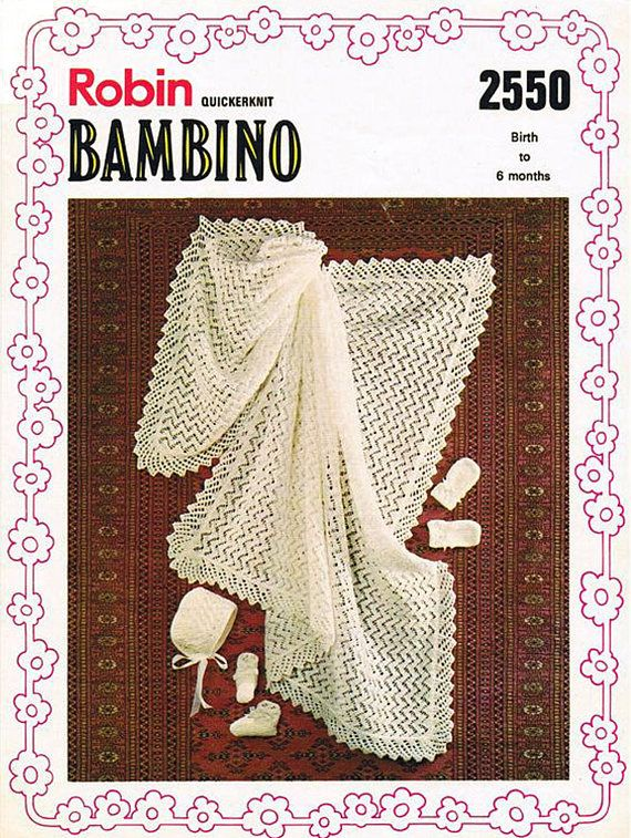 PDF Vintage Baby  Knitting Pattern Shawl Blanket Christening