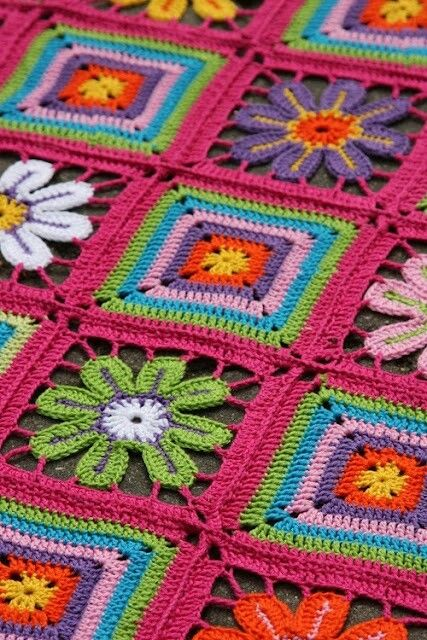 Granny square/flower petal crochet blanket, no pattern, but nice picture for inspiration