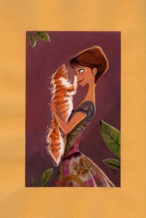 Girl and cat illustration / Ragazza e gatto, illustrazione, disegno - by #BrittneyLee