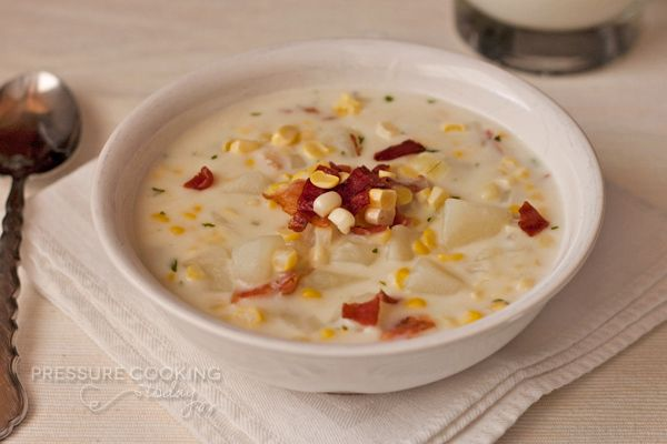 Corn chowder made with fresh corn cut from the cob, loaded with potatoes and bacon, and a corn broth that's spiced up with a just a touch of cayenne pepper.