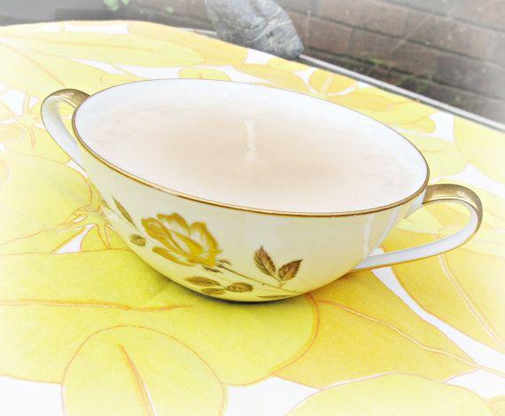 Noritake Bowl Candle Vanilla Flowers Gold Brown by DomumVindemia, $16.00
