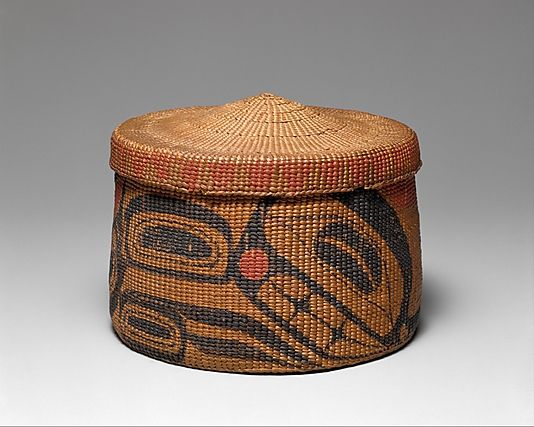 Lidded Basket Charles Edenshaw  Artist:     Isabella Edenshaw Date:     1885–90 Geography:     Canada, British Columbia Culture:     Haida Medium:     Spruce root, pigment Dimensions:     H. 3 3/4 x Diam. 4 3/4 in. (9.5 x 12.1 cm) Classification:     Basketry-Containers Credit Line: Ralph T. Coe Collection, Gift of Ralph T. Coe Foundation for the Arts, 2011 Accession Number:  2011.154.49a, b This artwork is not on display
