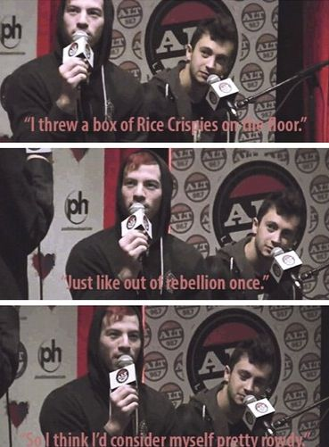 Tyler and Josh being rebellious with rice crispies. Haha funny twenty one pilots