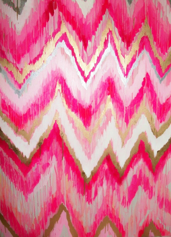 Cotton Candy Original ikat chevron 36x48 Painting by by jmoreman82, $850.00