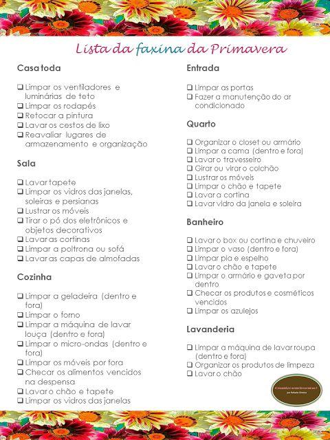 Organize sem frescuras!: Checklist da faxina da Primavera