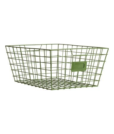 Metal wire basket with handles at sides. Size 6 x 9 x 11 3/4 in.