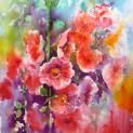 Hollyhocks. Brusho. Joanne Boon Thomas Image 1 | Art Tutor